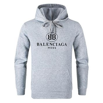 Balenciaga 2019 new logo print hooded pullover sweater Grey
