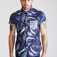 Tropical-Printed Collared Shirt