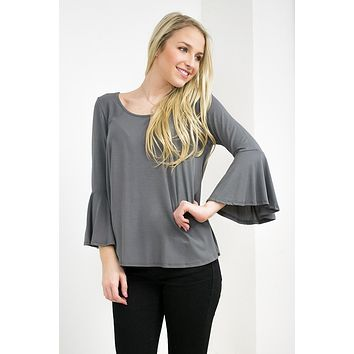 Flirty Bell Top | Grey