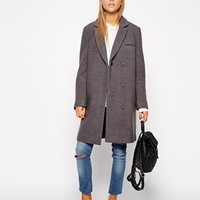 ASOS PETITE Exclusive Textured Coat with Contrast Collar at asos.com