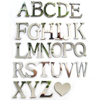 2016 new acrylic sticker love characters letters home decoration english mirror wall stickers alphabet logo free shipping