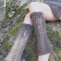 Brown Lace Legwarmers Woodland Pixie Mori Girl Hand Knitted Ready To Ship
