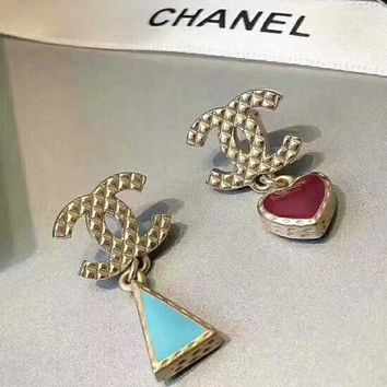 CHANEL New fashion length section triangle loving heart earrings women Golden