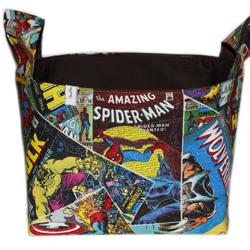 NEW Marvel Comics Fabric Storage Bin | Bedroom Storage | Desk Organizer | Storage Basket | Wolverine | Iron Man | Hulk|Captain America |Thor