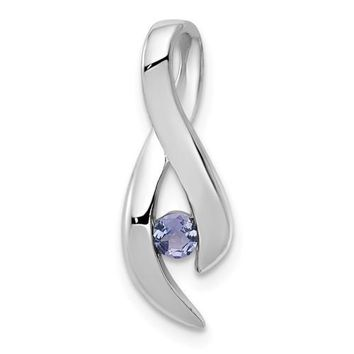 14k White Gold 3mm Tanzanite Infinity Inspired Pendant