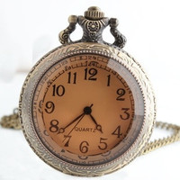 Large pocket watch sweater chain antique brown mirror palace in Europe and America nostalgic retro pocket watch necklace men and women watch (Color: Bronze)