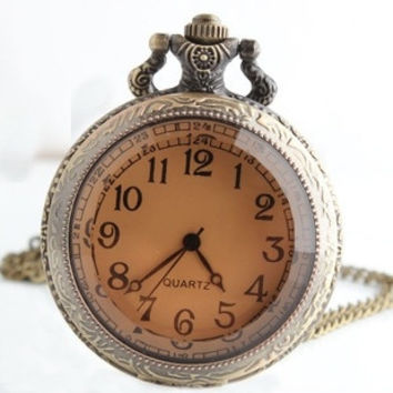 Large pocket watch sweater chain antique brown mirror palace in Europe and America nostalgic retro pocket watch necklace men and women watch (Color: Bronze) = 1753797572