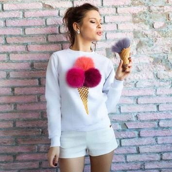 PEAPUNT New Vintage Women's Long-sleeved T Shirt Sweater Printing Three-dimensional ice cream Autumn Winter O-neck Pullover T-shirt