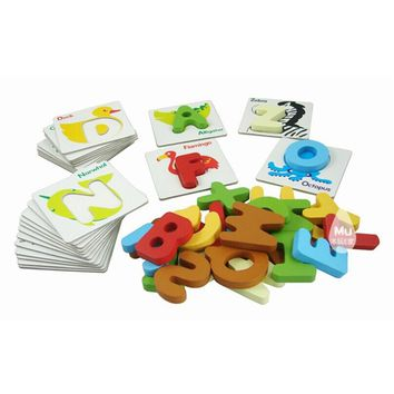 Baby Kid Wooden Animal ABCs Alphabet Flash Cards
