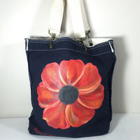 Purse Tote Authentic Pigment Raw Edge in Navy with Hand Painted Poppy