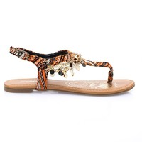 Above Rustic By Soda, Metal Chain Flat Thong Sandal w Multi Colored Print & Sling Back Ankle Strap