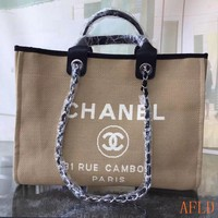 HCXX 19Aug 687 Fashion Canvas Embroidered Chain Tote Casual Large Shopper 37-30-18cm