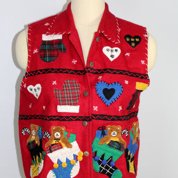 Life Style Christmas Vest Appliqué Holiday Stockings  Medium