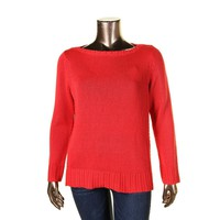 Lauren Ralph Lauren Womens Plus Knit Boatneck Pullover Sweater