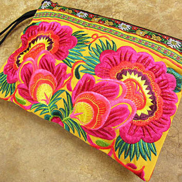 Exotic Pink Hmong Clutch Purse Hill Tribe fabric Tribal Clutch Purse  Exotic pink Neon Pink Yellow