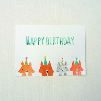 Happy Birthday Card, Corgi Birthday Postcard, Dogs, Animals in Party Hats, Original Illustration, Watercolor Card, Corgi Card