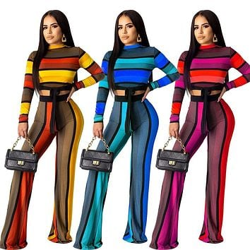 Women Striped Sexy Two Piece Long Sleeve Crop Top Pant Set