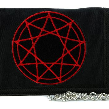 Red 9 Nine Pointed Star Occult Symbol  Tri-fold Wallet with Chain Dark Clothing