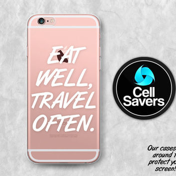 Eat Well Travel Often Clear Case iPhone 7 Plus iPhone 6s Case iPhone 6s Plus iPhone 5c iPhone 5 iPhone SE Clear Case White Tumblr Quote Cute