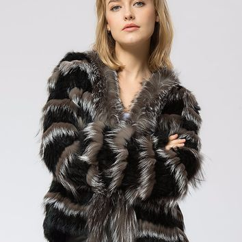 Simply Beautiful knitted Blend of Silver Fox  and Cozy Soft Rabbit  Fur Jacket
