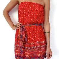 Upcycled Red Ethnic Strapless Dress