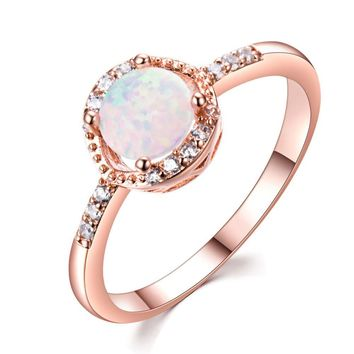 US Elegant Women Round Cut White Fire Opal CZ Rose Gold Wedding Ring Size 5-11