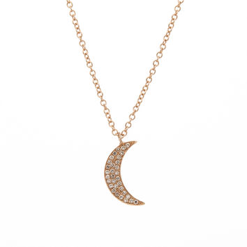 14K Rose Gold Diamond Crescent Moon Necklace