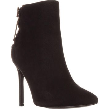 Charles David Catherine Pointed-Toe Ankle Boots, Black Suede, 5.5 US