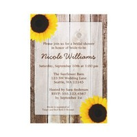 Sunflower Rustic Barn Wood Bridal Shower Personalized Invites from Zazzle.com