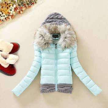 LMFUG3 2015 winter new knitting hooded down jacket fur collar slim down cotton padded coat black/blue/yellow/red = 1929725124