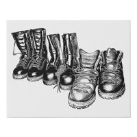Mens Work Boots Shoes still life Art Illustration Faux Canvas Print