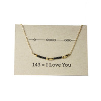 "Secret Code 143 ""I love you""  Friendship Necklace - Black"