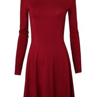 Tom's Ware Women's Casual Slim Fit and Flare Round Neckline Dress TWCWD052-D069-RED-US XS/S