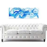 "original abstract painting modern fine art on canvas - texture - blue white metallic silver - prana 12""x48"""