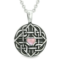 Amulet Celtic Shield Knot Magic Heart and Protection Powers Pink Cats Eye Pendant 22 Inch Necklace