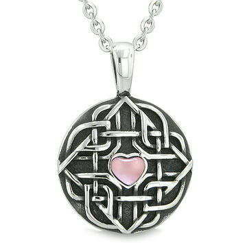 Amulet Celtic Shield Knot Magic Heart and Protection Powers Pink Cats Eye Pendant 18 Inch Necklace