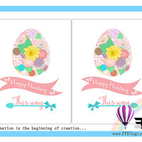 Floral Easter Printable | Easter Eggs This Way Poster | Easter Eggs This Way Sign | Easter Instant download | Easter PDF | 8.5 inchx11 inch