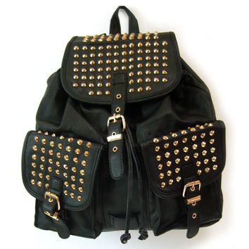 women studs studded spike spiked bag backpacks bookbags punk bag black