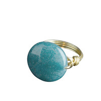 Bourbon and Boweties Round Teal Stone Ring