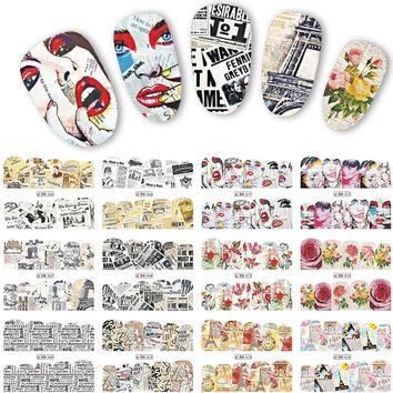 12 Designs Retro Nail Stickers Newspaper Nail Art Water Transfer Stickers Full Cover Decals Beauty Women Nails Tools LABN565-576