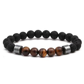 Noter Natural Lava Stone Beads Buddha Bracelet Charms Hematite Tiger Eyes Yoga Meditation Braclet For Men Women Hand Jewelry
