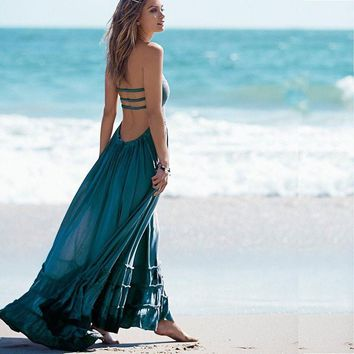 Beach dress sexy dresses boho bohemian people dress summer long blackless cotton women party hippie chic vestidos mujer 2017