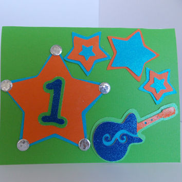 Happy 1st Birthday! - First Birthday Card in Neon Colors with Guitar and Stars - For Toddler Boy or Girl - Inside Blank