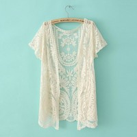 Lace cardigan shirt827