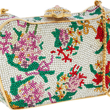 Pre-Owned Judith Leiber Full Bead Multicolor Floral Crystal Minaudiere Evening Purse Bag