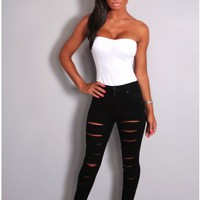 Alexis Black High Rise Ripped Jeans | Pink Boutique