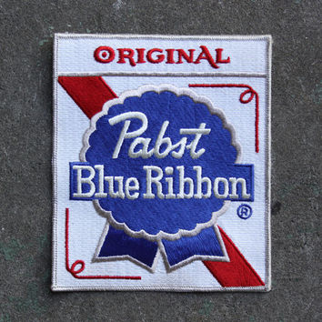 Vintage 70s PABST Blue Ribbon PATCH / 1970s Large Unused PBR Beer Back Patch