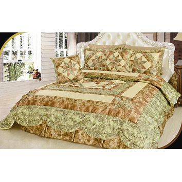 Geometric Star-Crossed Lovers Floral Sandy Beige Green Embellished Ruffles Coverlet Bedspread Comforter Set (BM6118L-1)
