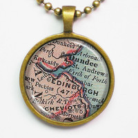 Personalizable Map Necklace - Edinburgh, Scotland -Vintage Map Pendant Series