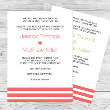 Wedding Invitation Template - Coral Stripes Printable Wedding Invitation - 5 x 7 Editable PDF Templates - Instant Download - DIY You Print